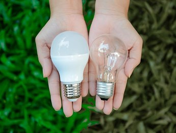 Two versions of a lightbulb